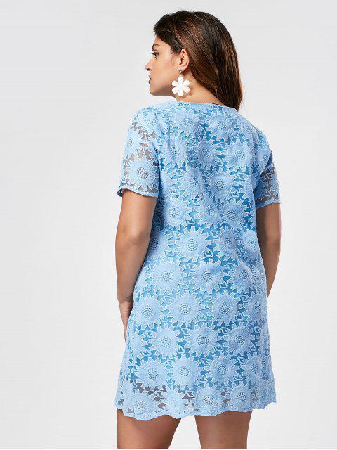 Robe à manches courtes brodées à manches courtes - Bleu 3XL Mobile