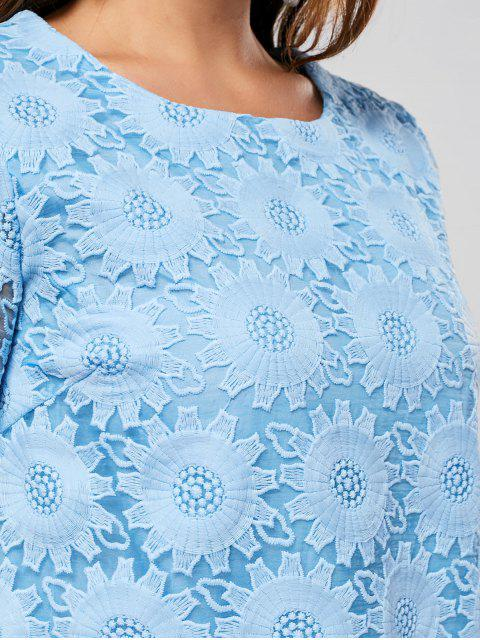 Robe à manches courtes brodées à manches courtes - Bleu 4XL Mobile