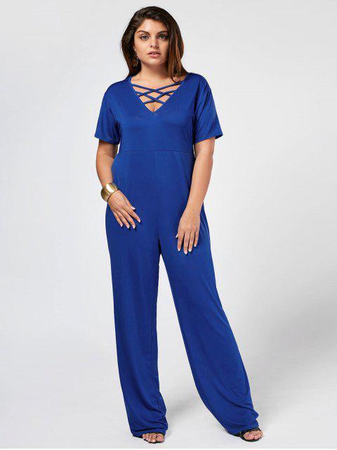 shop Strappy Plus Size Short Sleeve Jumpsuit - BLUE 3XL Mobile