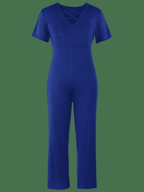 Robe courte à manches courtes Strappy Plus - Bleu 4XL Mobile