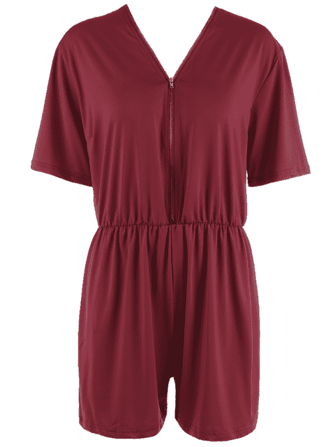 latest Elastic Waist Plus Size Half Zip Romper - WINE RED XL Mobile