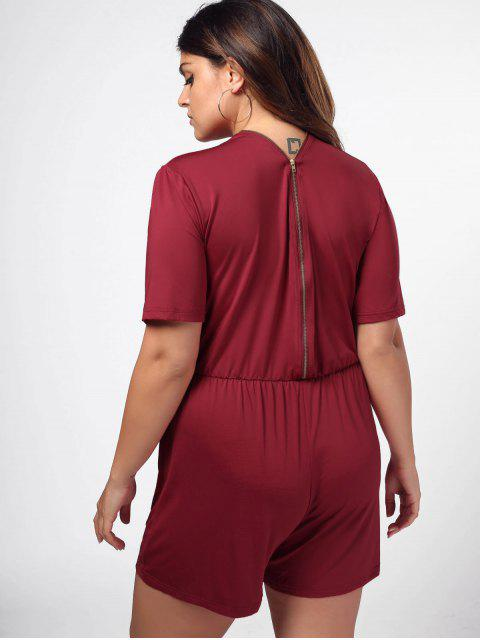 trendy Elastic Waist Plus Size Half Zip Romper - WINE RED 2XL Mobile