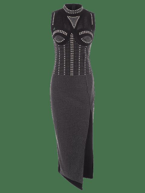 best Beaded Embellished Cut Out Slit Dress - BLACK M Mobile