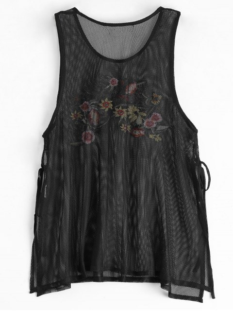 outfits Side Tied Floral Embroidered Slit Tank Top - BLACK L Mobile
