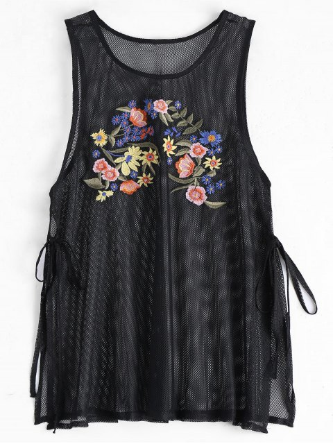 shops Side Tied Floral Embroidered Slit Tank Top - BLACK S Mobile