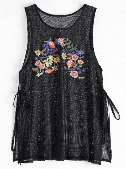 shops Side Tied Floral Embroidered Slit Tank Top - BLACK S Mobile