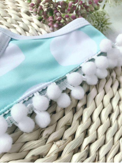 fashion Pom Pom Polka Dot Kids Bikini Set - WHITE AND GREEN 4T Mobile