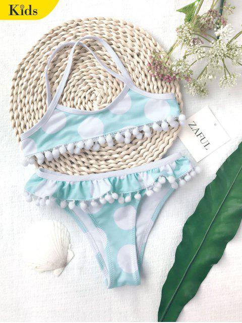 fancy Pom Pom Polka Dot Kids Bikini Set - WHITE AND GREEN 6T Mobile