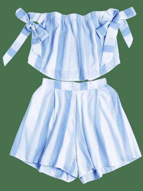 Shorts à rayures sans bretelles et shorts à taille haute - Bleu et Blanc S Mobile