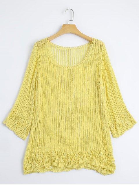 Top Cut Out en Crochet Tricoté - Jaune TAILLE MOYENNE Mobile