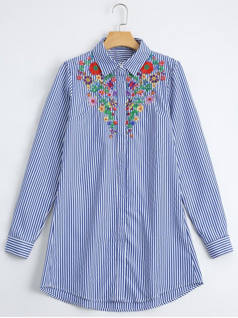 women's Loose Floral Embroidered Stripes Shirt - STRIPE L Mobile