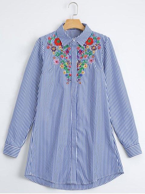 Lose Blumen besticktes Streifen-Hemd - Streifen  S Mobile