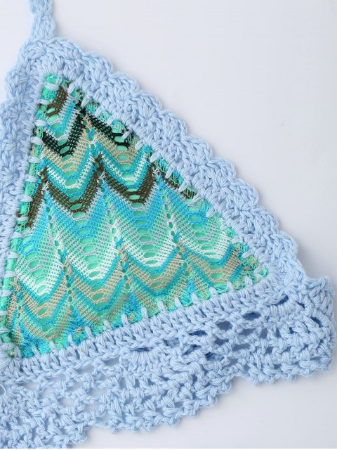 best Zig Zag Crochet Bralette String Bikini - COLORMIX L Mobile