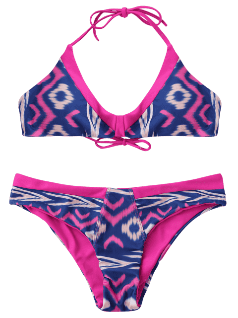 hot Tie-Dyed Padded Cheeky Bikini Set - PINK L Mobile