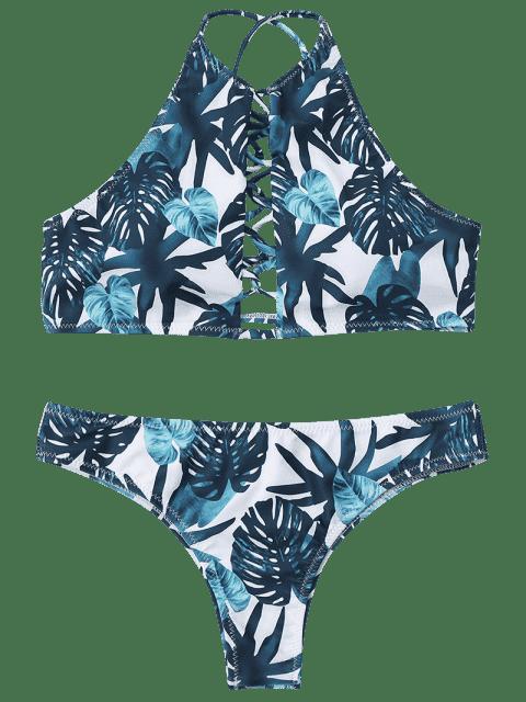 shop High Cut Leaf Strappy Bathing Suit - COLORMIX L Mobile