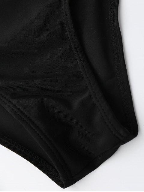 fashion Colorful Zig Zag Wrap Bathing Suit - BLACK M Mobile