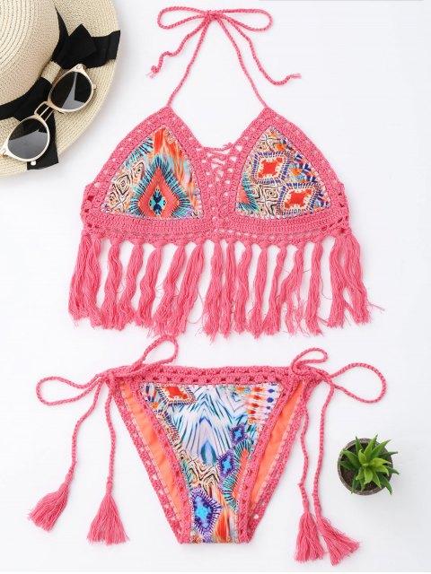fancy Tassel Argyle Crochet Bralette String Bikini - PINK L Mobile