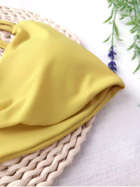 women's Padded Strappy Knot Bikini Set - MUSTARD M Mobile