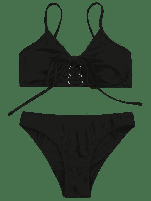 lady Eyelets Lace Up Bralette Bikini Set - BLACK L Mobile