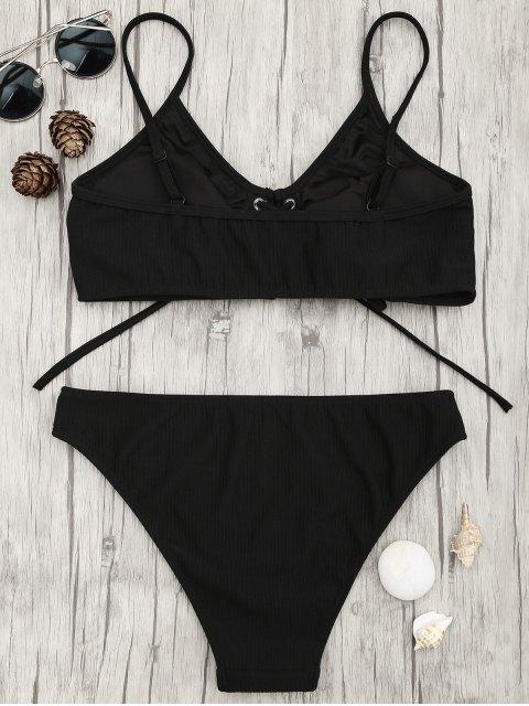 best Eyelets Lace Up Bralette Bikini Set - BLACK M Mobile