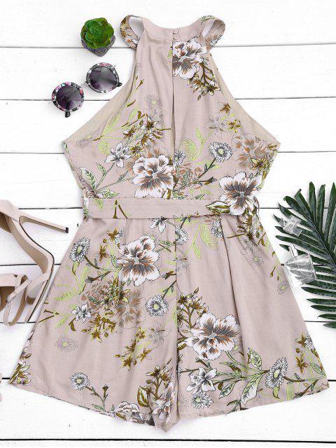 chic Keyhole Belted Floral Romper - FLORAL M Mobile