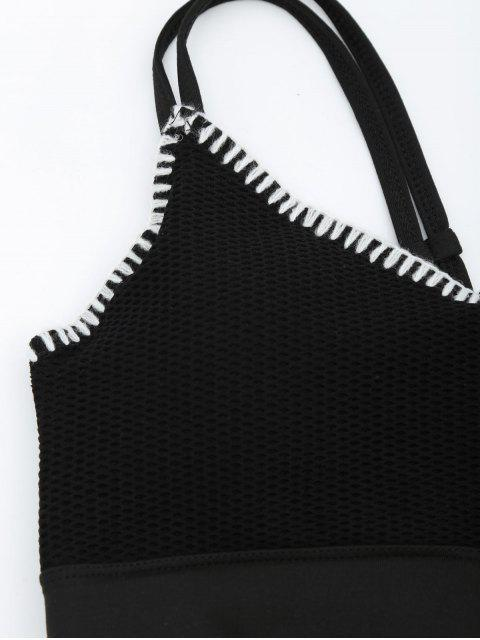 best Contrast Trim Fishnet Strappy Sports Bra - BLACK M Mobile
