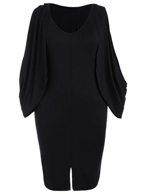 Robe mi-longue à manches longues - Noir 2XL Mobile