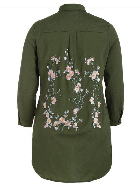 buy Floral Embroidered Plus Size Shirt Dress - ARMY GREEN XL Mobile