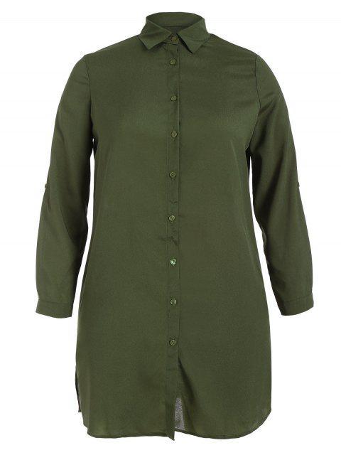 Floral bordado más vestido de la camisa de talla - Verde del ejército 2XL Mobile