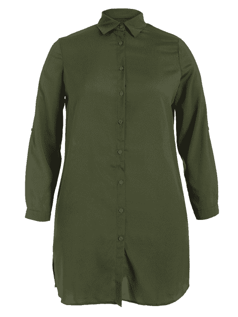 women's Floral Embroidered Plus Size Shirt Dress - ARMY GREEN 4XL Mobile