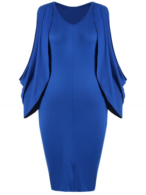 ladies Plus Size Split Sleeve Front Furcal Bodycon Dress - BLUE 3XL Mobile