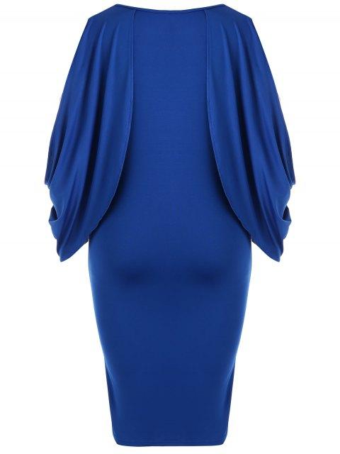 lady Plus Size Split Sleeve Front Furcal Bodycon Dress - BLUE 2XL Mobile