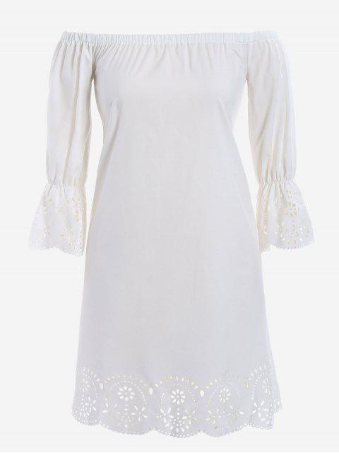 Laser-Schnitt Plus Size Off Schulter Kleid - Weiß XL  Mobile