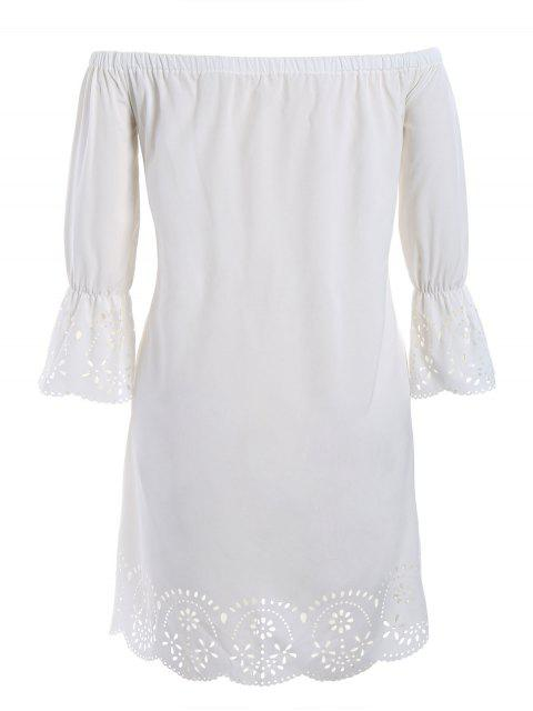 new Laser Cut Plus Size Off Shoulder Dress - WHITE 3XL Mobile
