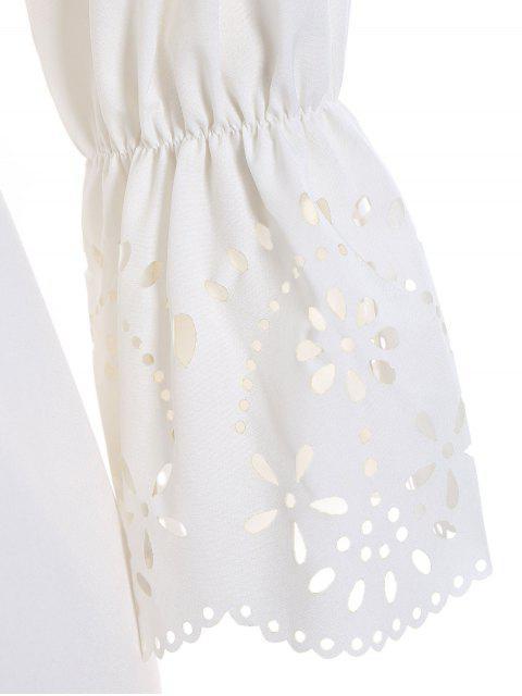 hot Laser Cut Plus Size Off Shoulder Dress - WHITE 4XL Mobile