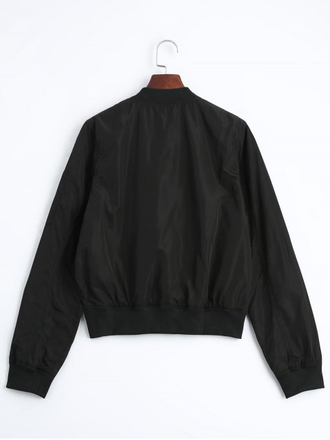outfits Zip Up Fall Bomber Jacket - BLACK L Mobile