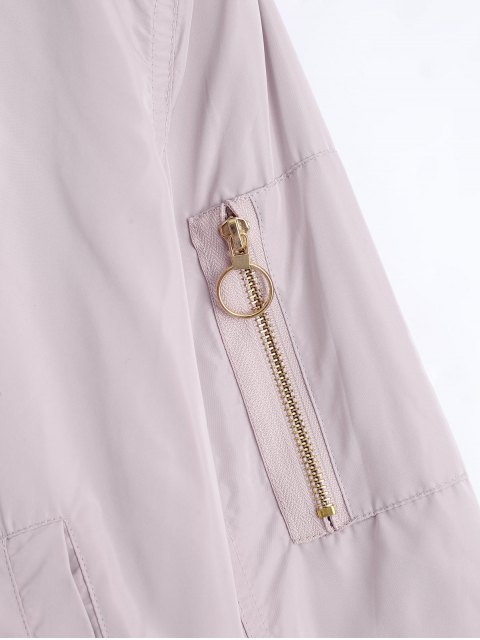 fashion Zip Up Fall Bomber Jacket - PINK S Mobile