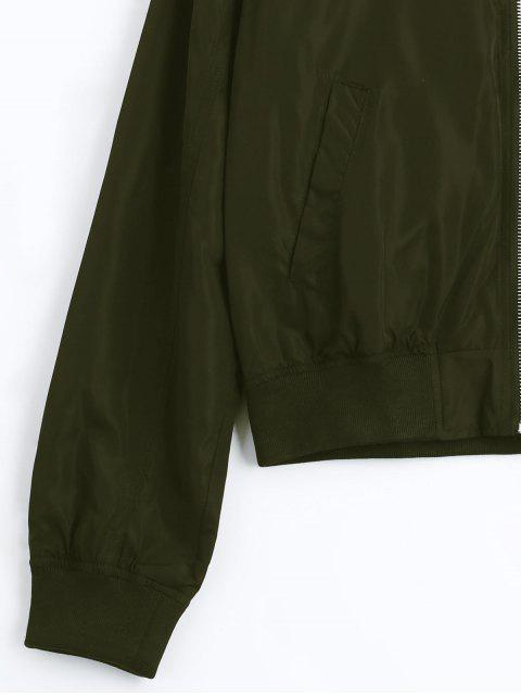 chic Zip Up Fall Bomber Jacket - ARMY GREEN L Mobile