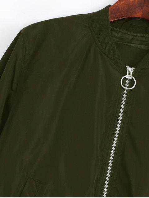 fancy Zip Up Fall Bomber Jacket - ARMY GREEN M Mobile