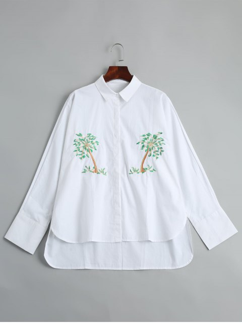 women Tree Embroidered High Low Shirt - WHITE M Mobile