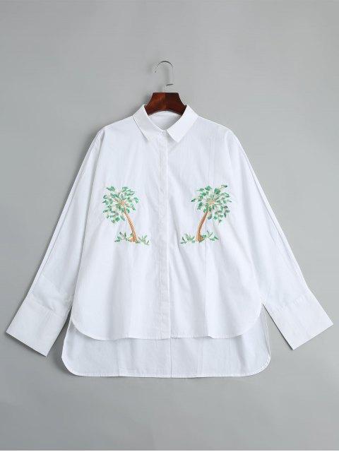 Baum gesticktes hohes Hemd - Weiß M Mobile