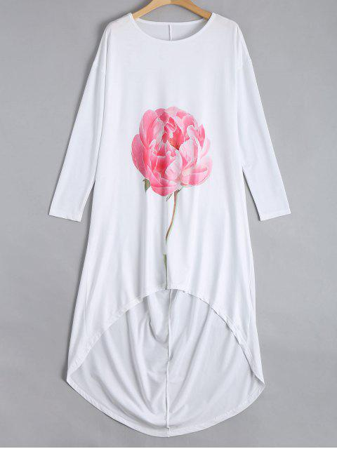 trendy Drop Shoulder Flower High Low Dress - WHITE XL Mobile