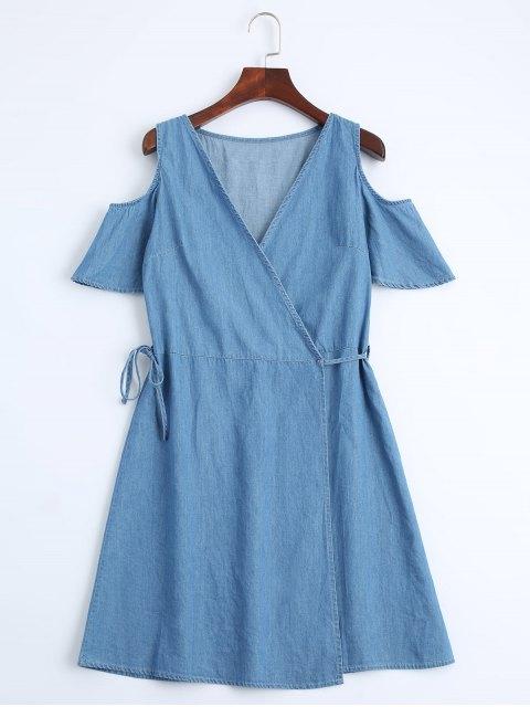 fashion Casual Wrap Cold Shoulder Dress - DENIM BLUE L Mobile