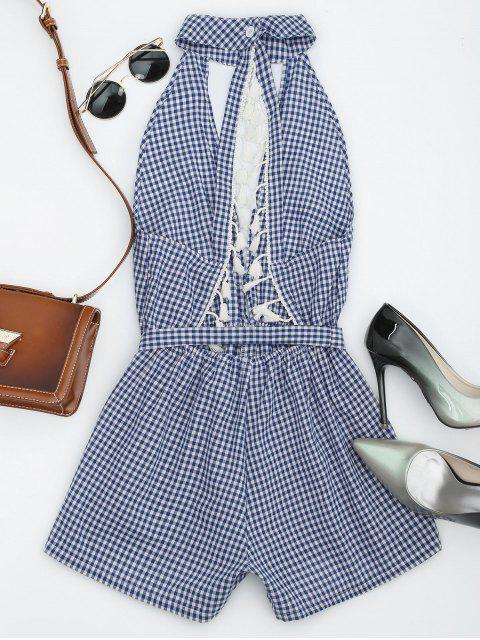 best Cut Out Backless Tassels Checked Romper - BLUE S Mobile