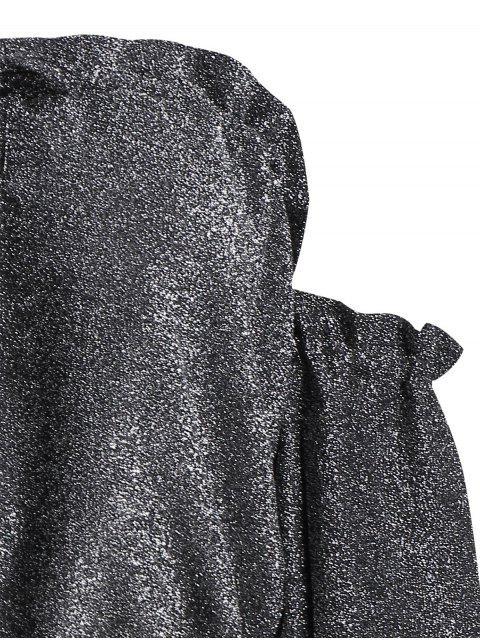 Off The Shoulder Ruffled Glitter Crop Blouse - Gris Noir XL Mobile