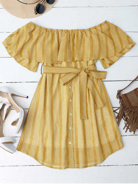 Schulterfreies Kleid mit Nadelstreifen - Ingwer-Gelb M Mobile