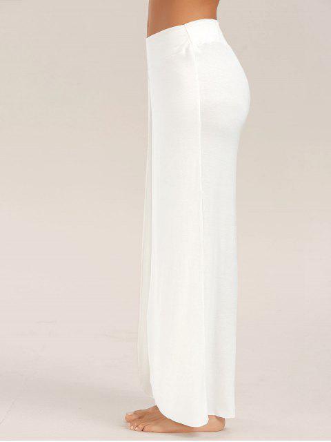 Pantalons palazzo large avec fente haute - Blanc 2XL Mobile