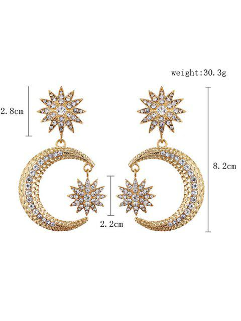 Boucles d'oreilles strass Sun Moon Drop - Or  Mobile