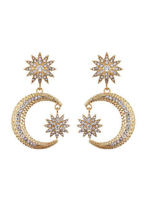 Pendientes de Gota de Sol y Luna de Diamante Artificial - Dorado  Mobile