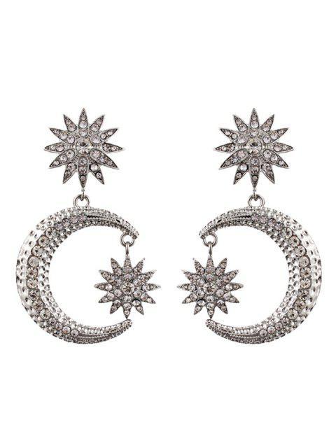 womens Rhinestone Sun Moon Drop Earrings - SILVER  Mobile